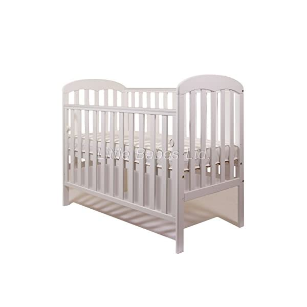 New Little Babes Ltd Mia Dropside Baby Cot Only (White) LITTLE BABES LTD *Little Babes Ltd Mia Dropside Cot complies with all current British & European Safety Standards BS EN 716-1: & 2:2008 *Cot Features: - drop side cot - quality pine wood - drop side - 3 position mattress base - teething rails - strong base *Cot Dimensions: - H103 x W67 x L124,5cm 1