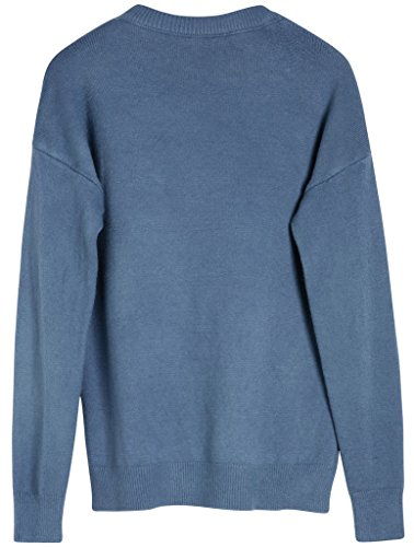 Vogueearth Fashion Femme's Crew Neck Basic Knit Jumper Sweater Chandail Tricots Pullover Top Bleu-2