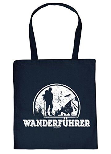Baumwolltasche mit Wandern Motiv: Stofftasche - Wanderführer - Farbe: Navyblau