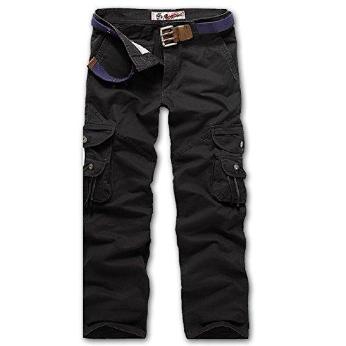AYG Herren Cargo Hose Camouflage Trousers(black,36)