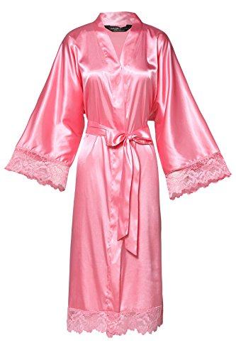 ArtiDeco Damen Morgenmantel Maxi Lang Seide Satin Kimono Kleid Einfarbiger Bademantel Damen Lange Robe Reine Farbe Schlafmantel 135 cm Lang (Rosa Kurz) Satin Kleid-kleid