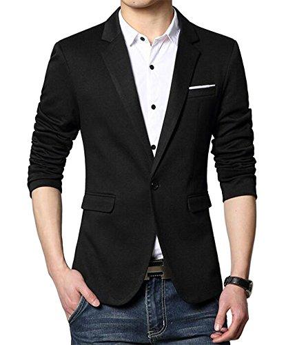 Herren Premium Lässig Slim Fit Ein Knopf Blazer Anzugjacke Sakko (M, Schwarz)