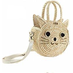 WTUS Mujer Hombro mensajero portátil tipo lindo gatito con tres paquetes de paquetes de la paja de los animales de playa bolsos totes ocio para Mujer
