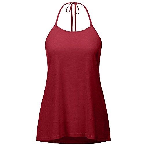 Dihope Femme Été Débardeur T Shirt sans Manches Dos Nu Tee-Shirt Gilet Casual Top Licol Bandage Vin Rouge