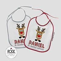 2 Baberos Reno Navidad personalizado con nombre. Tamaño 20x25cm. Original Regalo Bebé