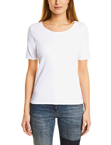 Cecil Damen T-Shirt 311780 Lena, Weiß (White 10000), Medium
