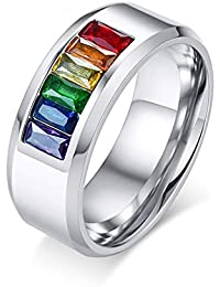 VJUKUBCUTE 8Mm De Titanio De Acero Inoxidable Arco Iris De Esmalte LGBT Orgullo Anillo para Lesbianas & Gay Boda…
