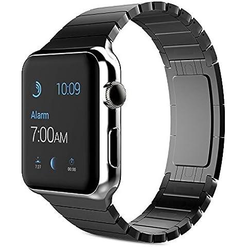 Cinturino Apple Watch, Moonmini 42mm Apple Watch Band Strap Cinturino Orologio Sostituzione in Acciaio Inossidabile con Chiusura Pieghevole,Cinghia di Polso,Fibbia di Metallo per Apple Watch 42mm - Nero - Chiusura Pieghevole