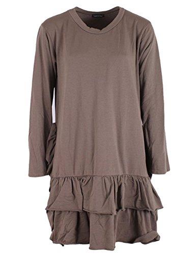 Gracious Girl Nouveaux Italian Quirky Lagenlook Femmes Frill Hem Tunique Top Blouse Plus Tailles Moka