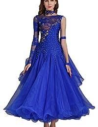 Rongg Vestidos de Danza Moderna Disfraz de Práctica para Mujeres Collar  Oblicuo Encaje Hueco Vals Vestidos de Baile de Salón Sin Mangas bfdb7479f6a0