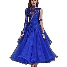 d607adc0ff Rongg Vestidos de Danza Moderna Disfraz de Práctica para Mujeres Collar  Oblicuo Encaje Hueco Vals Vestidos