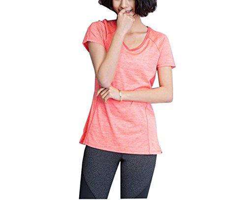 Suzone t-shirt sportiva da donna yoga top allenamento manica corta, tempo libero, fitness, maglietta sportiva da uomo Orange