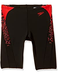 Speedo Boys Swimwear Boom Splice Jammer (8108493268_Black and Risk Red_26)