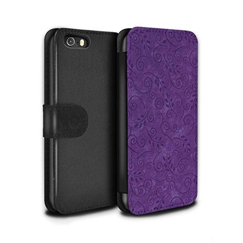 Stuff4 Coque/Etui/Housse Cuir PU Case/Cover pour Apple iPhone 5/5S / Pack (8 pcs) Design / Motif Feuille Remous Collection Pourpre