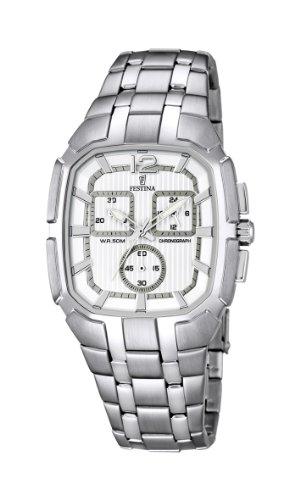 FESTINA F6827/1 - Reloj analógico de cuarzo para hombre, correa de acero inoxidable color plateado (agujas luminiscentes)