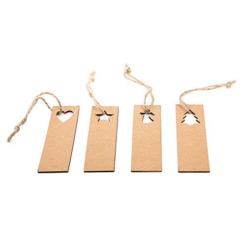 24 Stück Paper tags (3 x 10 cm) Geschenkanhänger Namensschilder weihnachtlich Weihnachtsanhänger aus Papier Pappe zum Beschriften mit Adventszahlen und Adventskalender basteln Papp-Labels (Kraftpapier-geschenk-korb)