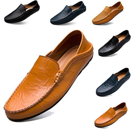 f1a720b7 Sunny Holiday Hommes Mocassins Chaussures Plates Chaussures Décontractées  Chaussures Bateau Doux Cuir Chaussures de Conduite Chaussure