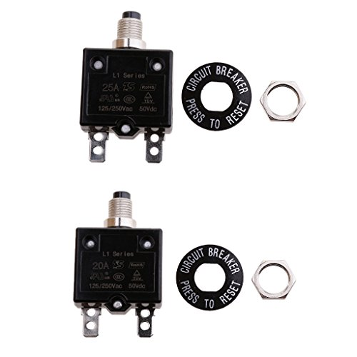 perfk 2 Stück Thermischer Überlastungsschutzschalter Verschleißteile Schalter Leistungsschalter 20A und 25A -