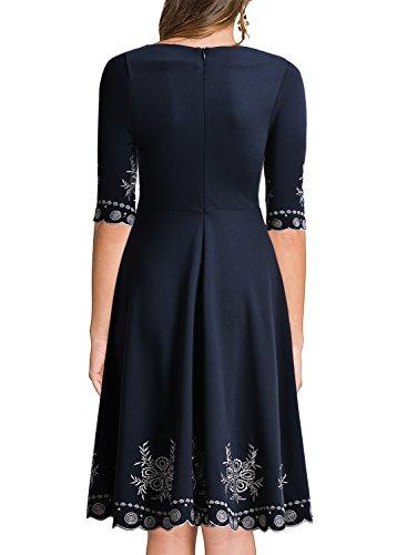 Miusol Damen Abendklei Sommer Kurz vintage Rockabilly Kleid Cocktail Ballkleid Blau Gr.36-44 A-Blau