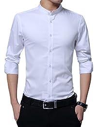 Mens Grandad Collar Dress Shirts Slim Fit Long Sleeve Formal Shirts Solid Tuxedo Shirts 100% Cotton 3 Color