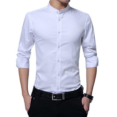 Camicia da uomo, colletto alto, slim fit, a maniche lunghe, business nozze formale shirt smoking cotone bianco