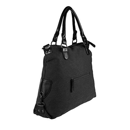 OBC ital-design Stern Tasche Handtasche Leder Damentasche Canvas Baumwolle CrossOver Schultertasche Sportliche Tasche Umhängetasche Henkeltasche Shopper DIN-A4 (Grün) Schwarz (Strass-Stern)