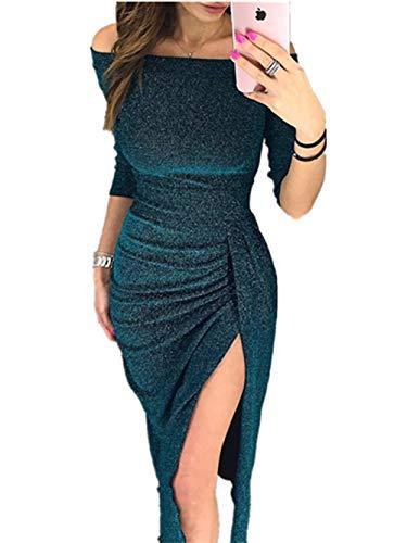 CHICME BEST SHOPPING DEALS Damen Shiny Schulterfrei Ruched Thigh Slit Kleid (X-Large, S-Grün)