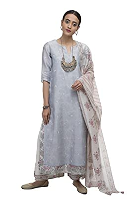 KORA Women's Chanderi Kurta, Slip, Pant and Duppata
