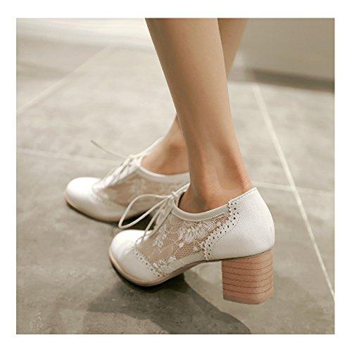 Chaussure femmes à lacet en dentelle à petit talon pour printemps et l'été Blanc