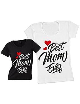 Altra Marca T-Shirt Donna Maglietta Personalizzata Best Mom Ever Maglia Femminile Estiva Idea Regalo per la Festa...