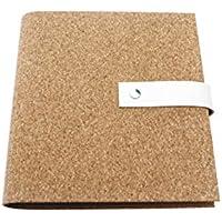 Archivador con cubierta de corcho natural (estructura rustica) DIN A5 y DIN A4 y cierre de cuero en 4 colores - Con grabado personalizado