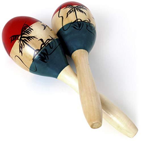 iGadgitz Xtra U7130 Paar Ulme Holz Maracas für Erwachsene, Rumbarassel, Rumbakugeln - Holz, Grün, Rot und schwarzes Motiv