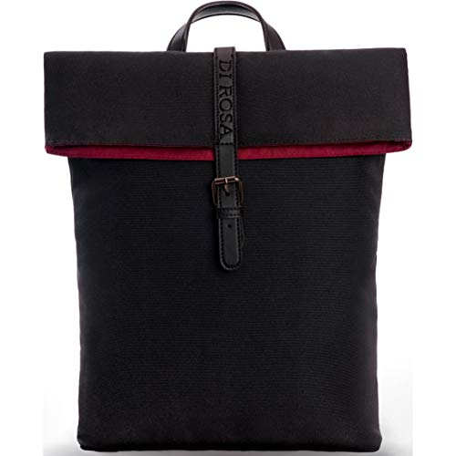 DI ROSA \'Verona Amore\' Rucksack Damen | Schwarz Bordeaux Rot | Praktische Laptop Tasche - Uni Büro Arbeit Alltag | Damenrucksack Elegant - Hochwertig & Nachhaltig | Modern Klein | Frauen