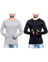 T Shirts For Man Black & Grey Full Sleeve Thumb-hole Round Neck Cotton Men T-Shirt - Pack Of 2