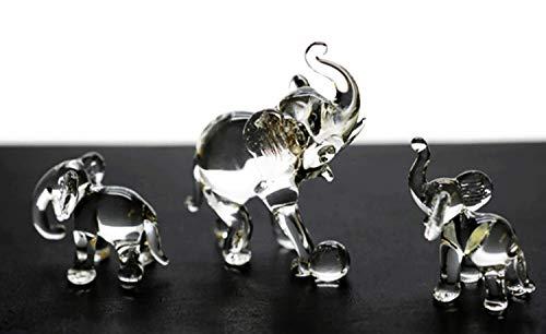 Art Glass Mini-anhänger (ChangThai Design 3 Stück Elefanten-Fußball 2 Handschale Glas Puppenhaus Miniatur-Dekoration)