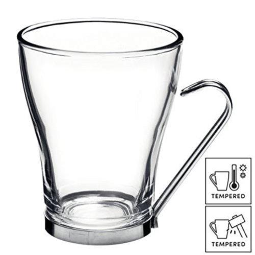 Fitting Gifts Bistro Collection Tasses à Café/Café au Lait/Thé en Verre avec Anses en Acier Inoxydable 32cl (Lot de 48)