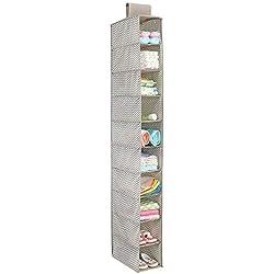 mDesign organiseur d'armoire de bébé – étagère de rangement pratique à suspendre pour la chambre d'enfant – avec 10 compartiments pour vêtements, serviettes de bain, couches, chaussures – taupe/nature