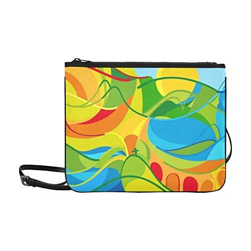 WYYWCY Rio 2016 Abstrakte Bunte Rio Benutzerdefinierte hochwertige Nylon Schlanke Handtasche Umhängetasche Umhängetasche
