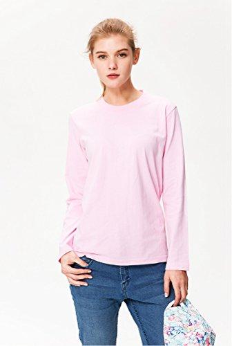 Baymate Unisex Einfarbig Lightweight Raglan Sweat Runder Kragen Pullover Pink