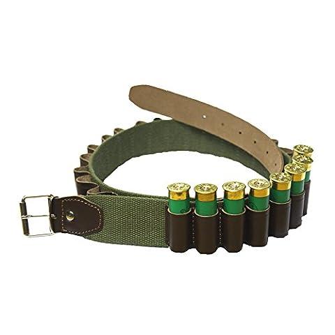 Bisley Canvas 25 Shotgun Cartridge Belt - leather loops 12