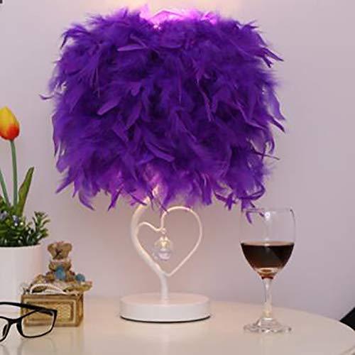 Tischlampe, LED-Nachttischleseraum Wohnzimmer Schlafzimmer Herzförmige Feder Lampenschirm Kristalllampe Tischlampe [Energiestufe A +],Lila,buttonswitch -