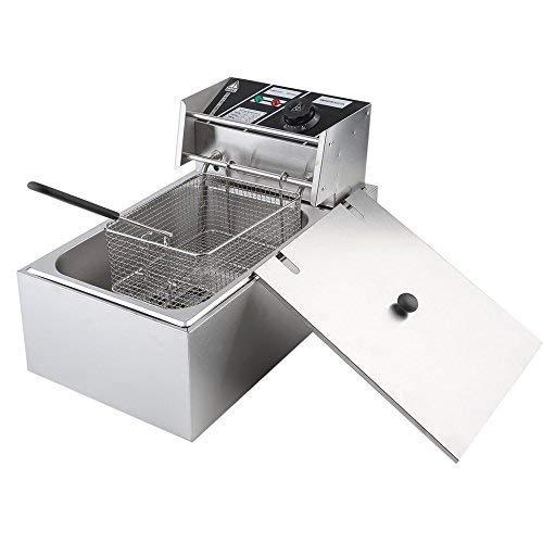 Homgrace Friggitrice Elettrica Professionale di 10 Litri, Friggitrice in Acciaio Inox, Potenza di 2,5KW, per Uso Domestico o Commerciale