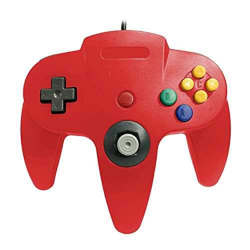 Vococal Controlador USB N64, N64 Wired USB Game Controller Gamepad Joypad Joystick para PC Mac Interfaz USB Juego Accesorio (Rojo)