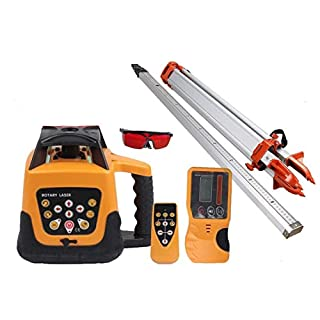 Ridgeyard Totally Automatic Self Leveling Red Beam Rotary Laser Level + 1.65 Aluminum Tripod + 5m Staff Complete Set Building Measure
