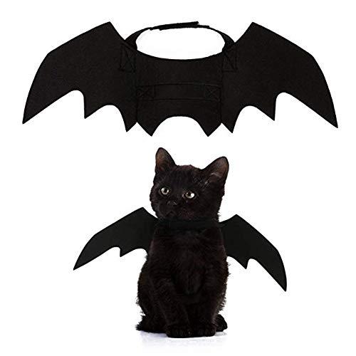 Aweekly Halloween Katzen-Kostüm Fledermausflügel Haustier Kostüm Haustier Kleidung für Kleine Hunde Katzen Kostüm (ohne Glocken)
