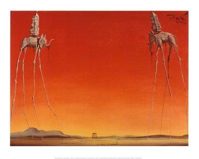 Lámina 'Los elefantes, c.1948', de Salvador Dalí, Tamaño: 50 x 40 cm