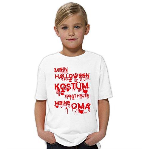 der-Halloween-Fun-T-Shirt als Geschenke-Idee Motiv: Mein Halloween Kostüm trägt heute meine Oma Farbe: weiss Gr: 134/146 (Mädchen Zombie Halloween Kostüm Ideen)