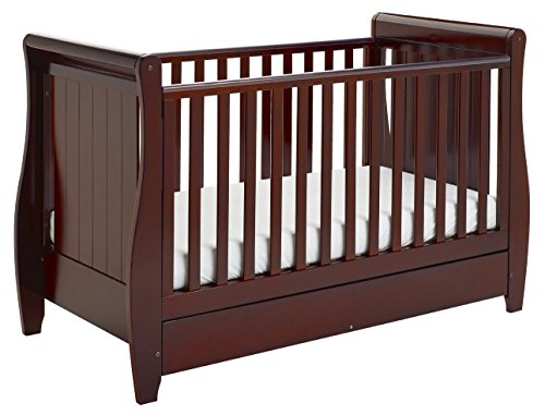 Babymore Stella Sleigh Dropside Cot Bed with Drawer (Brown)