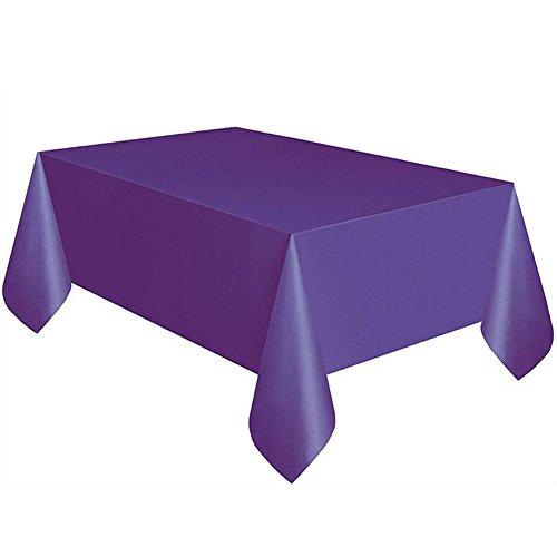 Sallyohno Tischdecke einfarbig Geburtstag quadratische Tischdecke wasserdicht und öldicht Staub Einweg Kunststofftischdecke (183cm x 137cm, Lila)