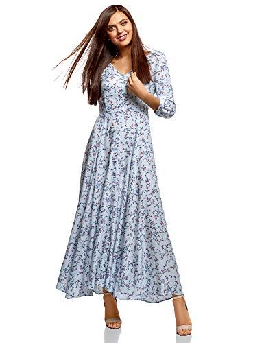 oodji Ultra Femme Robe Longue Boutonnée, Bleu, FR 42 / L